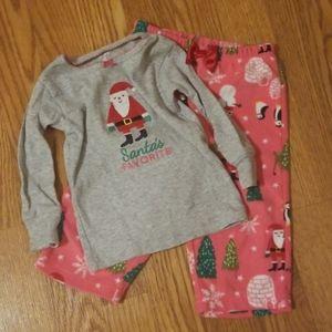 Girl's 12 month fleece Santa pajama set